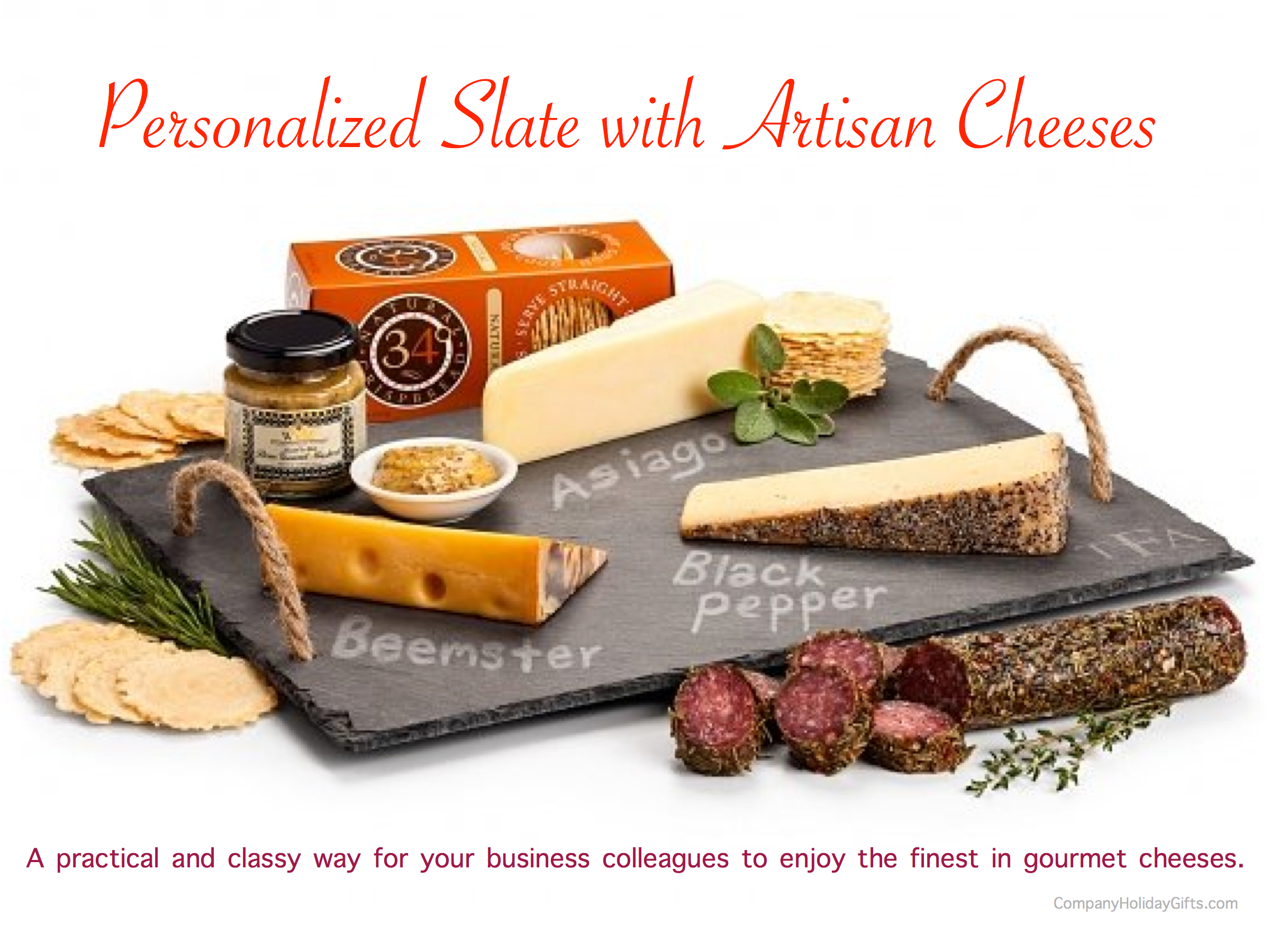 Personalized Slate with Artisan Cheeses, 20 Best Company Holiday Gift Ideas Under $100.00