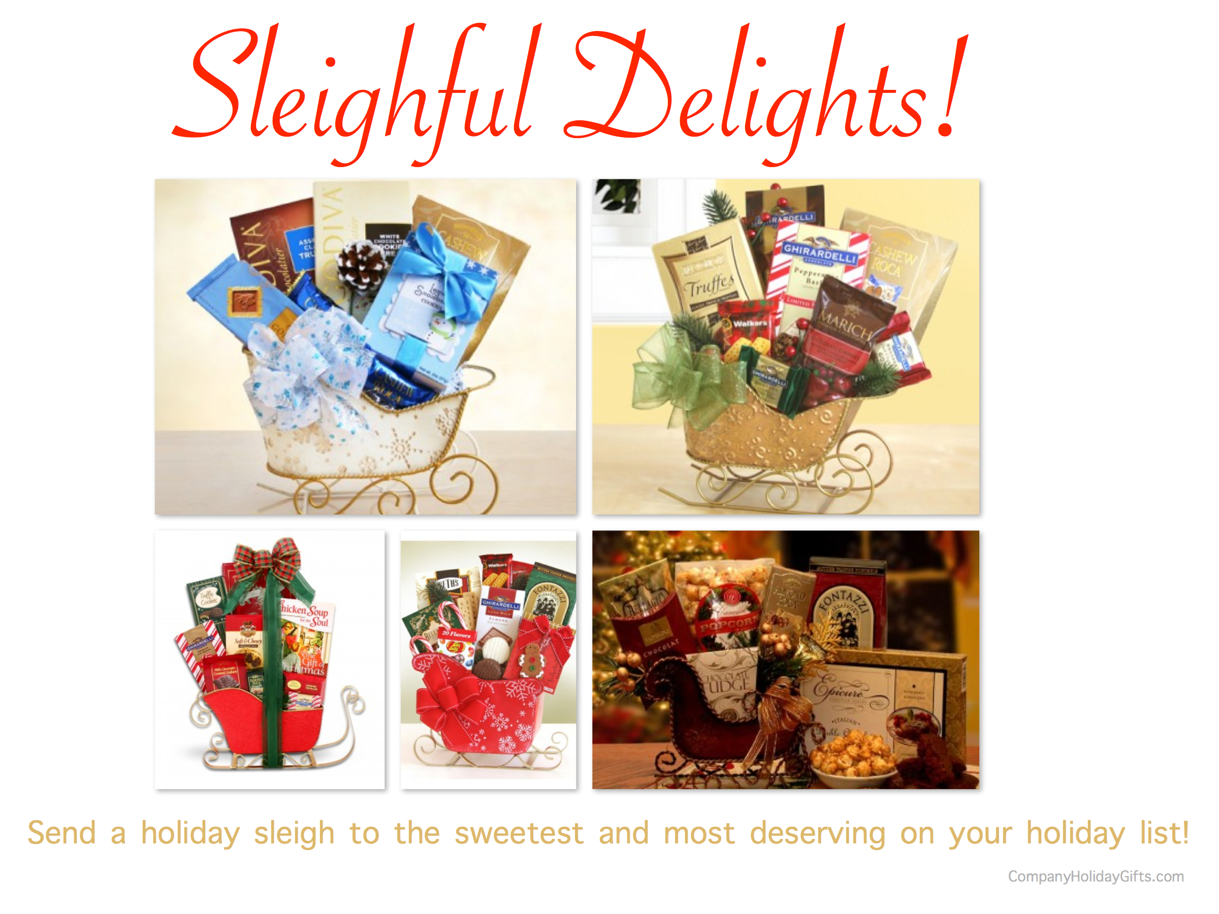 Sleighful Delights Holiday Gifts, 20 Best Company Holiday Gift Ideas Under $100.00, holiday gift sleighs