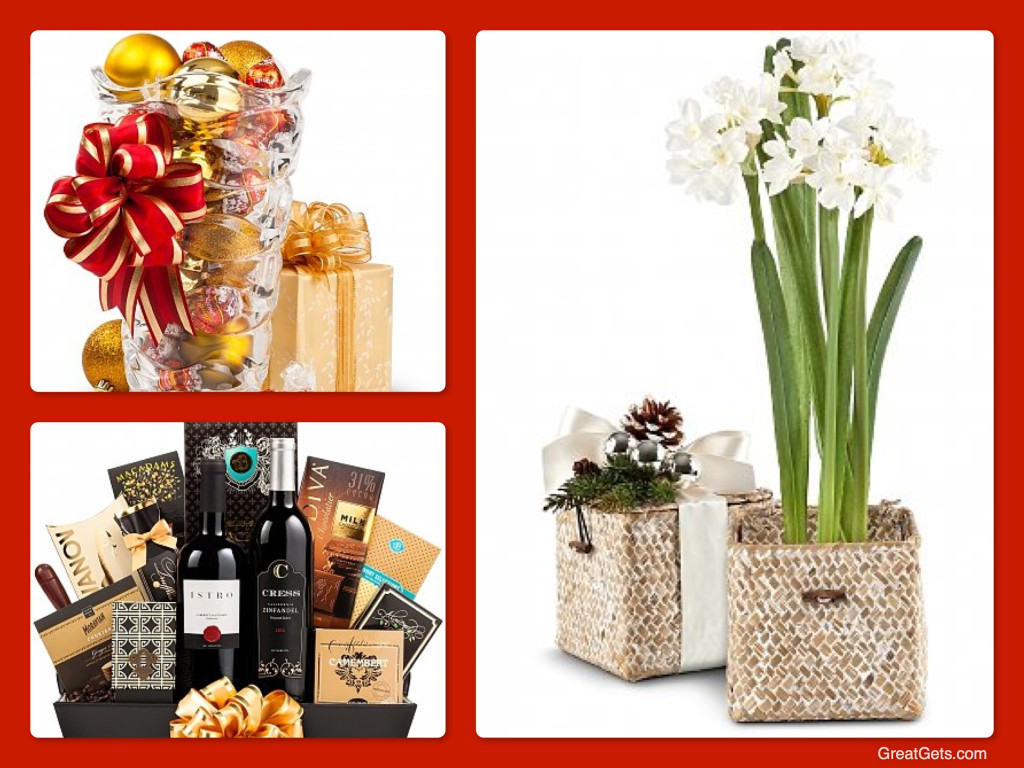 Elegant Company Holiday Gifts - Flowers, Wine & Chocolate