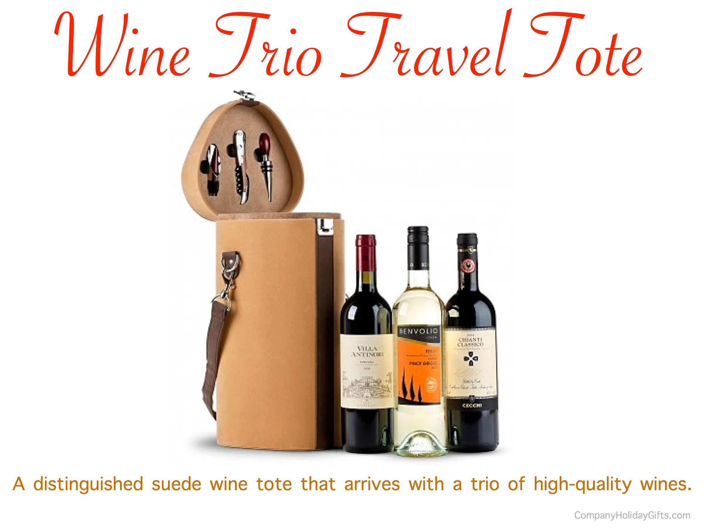 Wine Trio Travel Tote Holiday Gift, 20 Best Company Holiday Gift Ideas Under $100.00