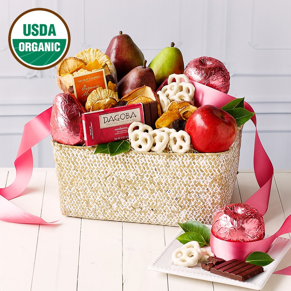 Organic Pink Fruit Basket, Valentines Day Business Gifts