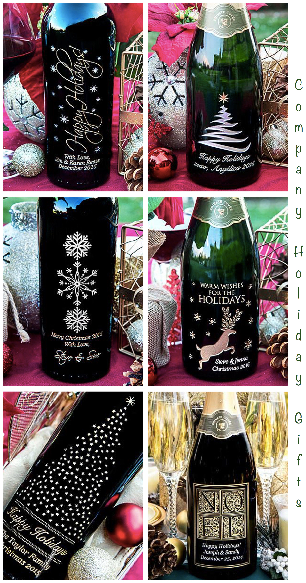 Company Holiday Gifts Personalized Etched Wine Bottles