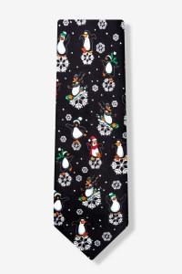 black polyester dancing penguins tie