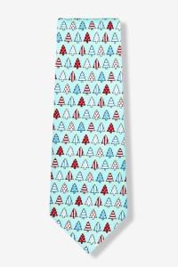 Light blue silk Christmas tree tie