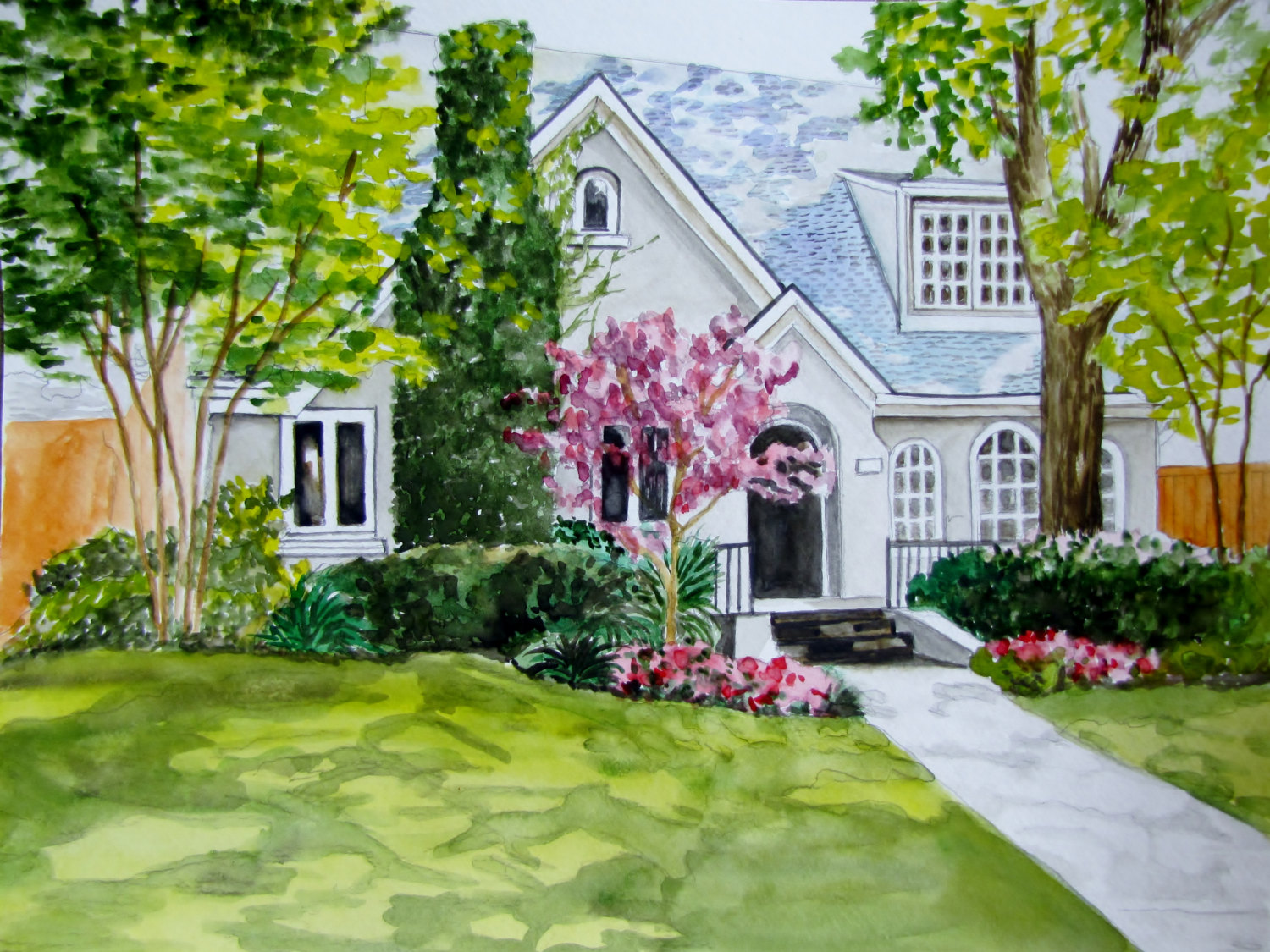 original watercolor painting of home