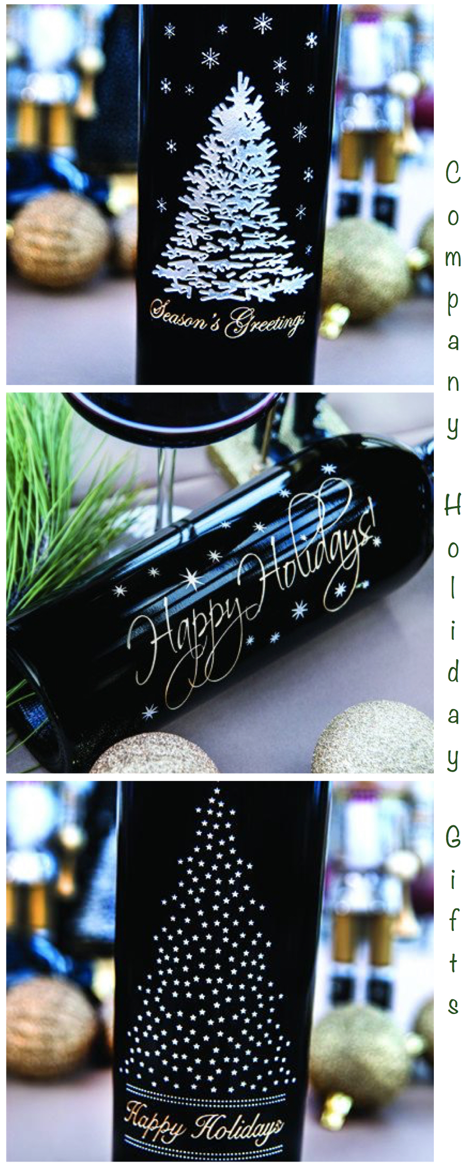 Company Holiday Gifts Etched Wine Bottles